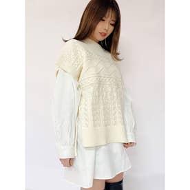 透かし編みベスト (ホワイト)