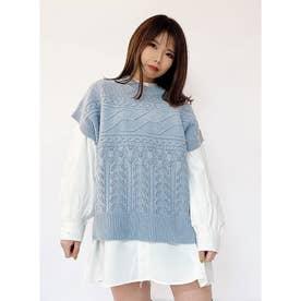 透かし編みベスト (ライトブルー)