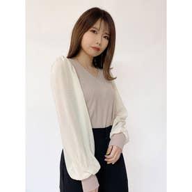 袖異素材シアートップス (ダークホワイト)