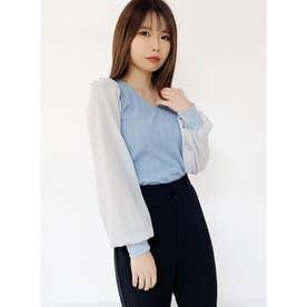 袖異素材シアートップス (ライトブルー)