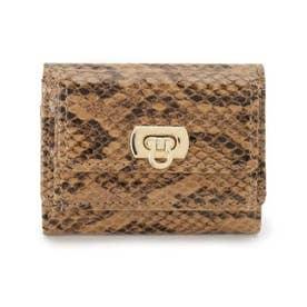 三つ折りリザード調ミニ財布 (ブラウン(142))