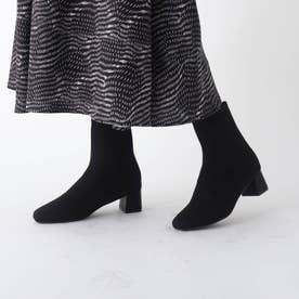 スクエアトウニットソックスブーツ【洗える成形インソール/WEB限定サイズ】 (ブラック)