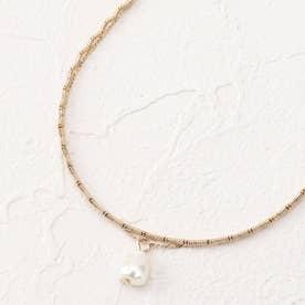 フェイクパール付き2連ネックレス (ゴールド)