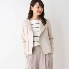 【My style is...掲載】【34(SS)、42(LL)WEB限定サイズ】バイアスジップライダース風ジャケット (オフホワイト)