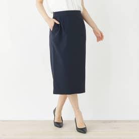 【洗える・34(SS)、42(LL)WEB限定サイズ】リネンテイストタイトスカート (ネイビー)