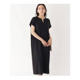 【接触冷感】アイスコットン ジャージーキーネックドレス (ブラック)