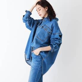 コットン混デニム BIGシャツ【UNISEX】 (ブルー)