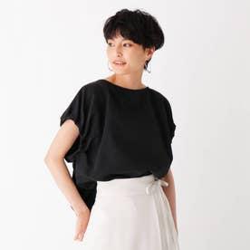 ナイロングログラン ギャザースリーブブラウス【WEB限定サイズ】 (ブラック)