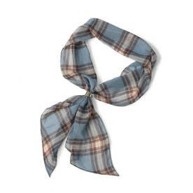 シフォンリング付きスカーフ (ブルーチェック)