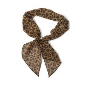 シフォンリング付きスカーフ (レオパード)
