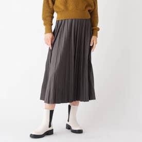 スウェード&レザーライク イージープリーツスカート【WEB限定サイズ】 (チャコールグレー)