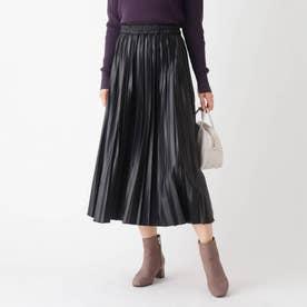 スウェード&レザーライク イージープリーツスカート【WEB限定サイズ】 (ブラック)