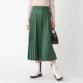 スウェード&レザーライク イージープリーツスカート【WEB限定サイズ】 (モスグリーン)