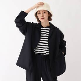 グリーンウールストレッチ オープンカラーシャツジャケット【UNISEX】 (ネイビー)