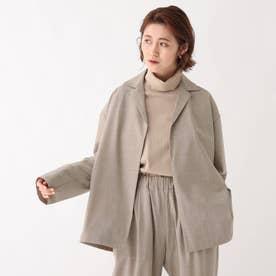 グリーンウールストレッチ オープンカラーシャツジャケット【UNISEX】 (ベージュ)