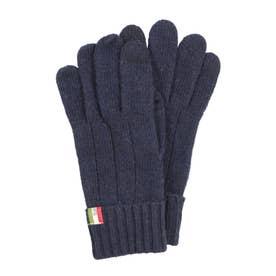 紳士 ニット手袋 スマホ対応 五本指 (ネイビー)