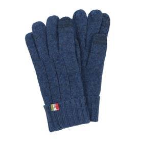 紳士 ニット手袋 スマホ対応 五本指 (ブルー)