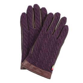紳士 ニット手袋 スマホ対応 五本指 (パープル)