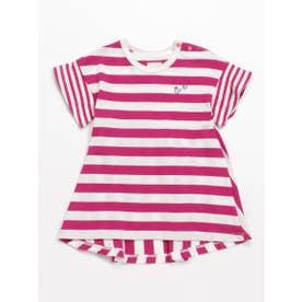 [ベビー]Orangehakka ボーダー半袖チュニックTシャツ (ピンク)