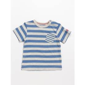 [ベビー]Orangehakka ボーダーMIX半袖Tシャツ (ブルー)