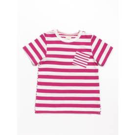 [ジュニアサイズ]Orangehakka ボーダーMIX半袖Tシャツ (ピンク)