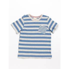 [ジュニアサイズ]Orangehakka ボーダーMIX半袖Tシャツ (ブルー)