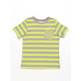 [ジュニアサイズ]Orangehakka ボーダーMIX半袖Tシャツ (ライトグリーン)