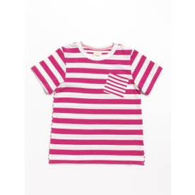 Orangehakka ボーダーMIX半袖Tシャツ (ピンク)