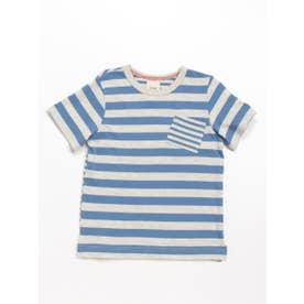 Orangehakka ボーダーMIX半袖Tシャツ (ブルー)