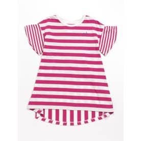 [ジュニアサイズ]Orangehakka ボーダー半袖チュニックTシャツ (ピンク)