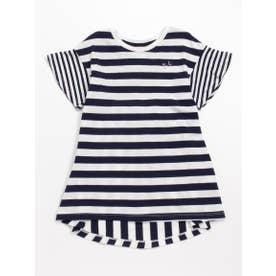 [ジュニアサイズ]Orangehakka ボーダー半袖チュニックTシャツ (ネイビー)