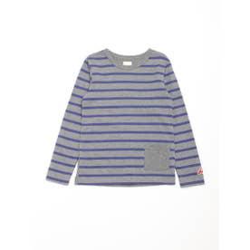 [ジュニアサイズ]ボーダー長袖Tシャツ (杢グレー)