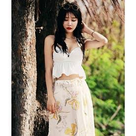 【ネット限定】【3点セット】スリットスカート付き フリルキャミスイムウェア (ホワイト×ボタニカル) 【返品不可商品】