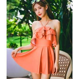 【ネット限定】[水着] 2色 フェミニン フレア ワンピース 【返品不可商品】(オレンジ)