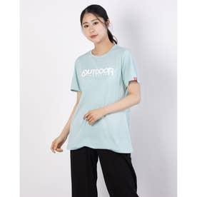 フロッキープリントロゴTシャツ (ミント)