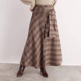 [洗える]ウエストリボンチェック柄スカート (ナチュラル)