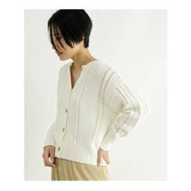 [洗える]柄編みショートカーディガン (オフホワイト(003))