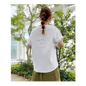 [洗える]手描き風コットンロゴTシャツ (アイボリー(004))