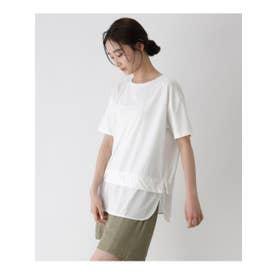 [洗える]レイヤード風半袖プルオーバー (オフホワイト(003))