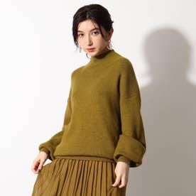 【洗える】イタリア糸ハイネックリブニットプルオーバー (オリーブグリーン)