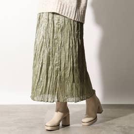 光沢プリーツスカート (オリーブグリーン)
