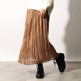 光沢プリーツスカート (ブラウン)
