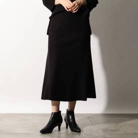 【洗える】メルトンジャージフレアスカート (ブラック)