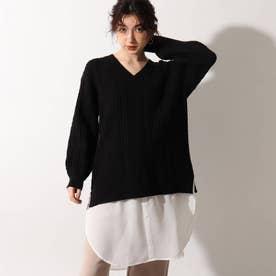 【洗える】裾シャツケーブルニットチュニック (ブラック)