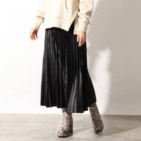 【洗える】カレンダーサテンプリーツスカート (ブラック)