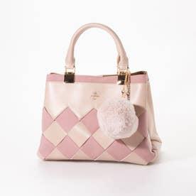 【Pi ピーアイ】ポンポン付きメッシュのA5ノートサイズの2WAYトートバッグ(ショルダー付き) (ピンク)