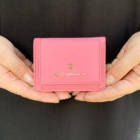 レザー風合皮3つ折りミニウォレット (ピンク)