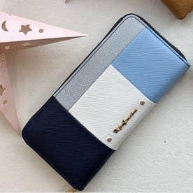 【Pi ピーアイ】合皮ブロック配色ラウンドファスナー長財布 (NV)