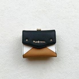 【Pi ピーアイ】合皮のカラフル配色 がま口付き3つ折り財布(BK)