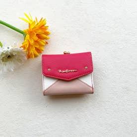【Pi ピーアイ】合皮のカラフル配色 がま口付き3つ折り財布 (PN)